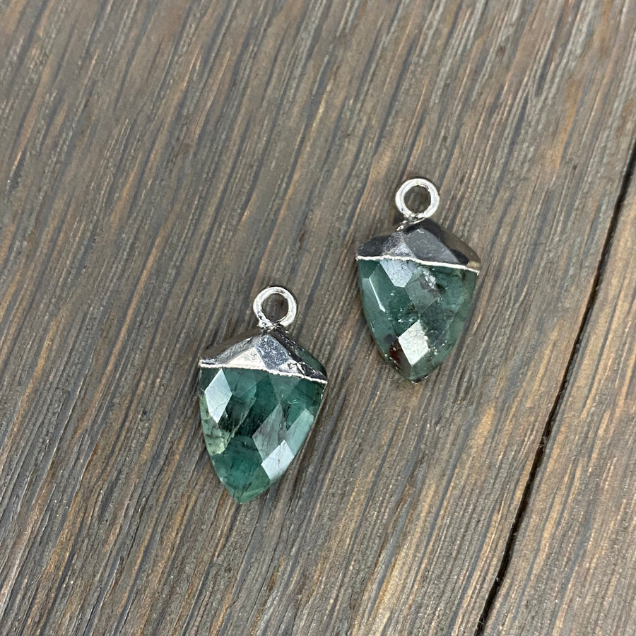 Gemstone drop thread earrings - sterling