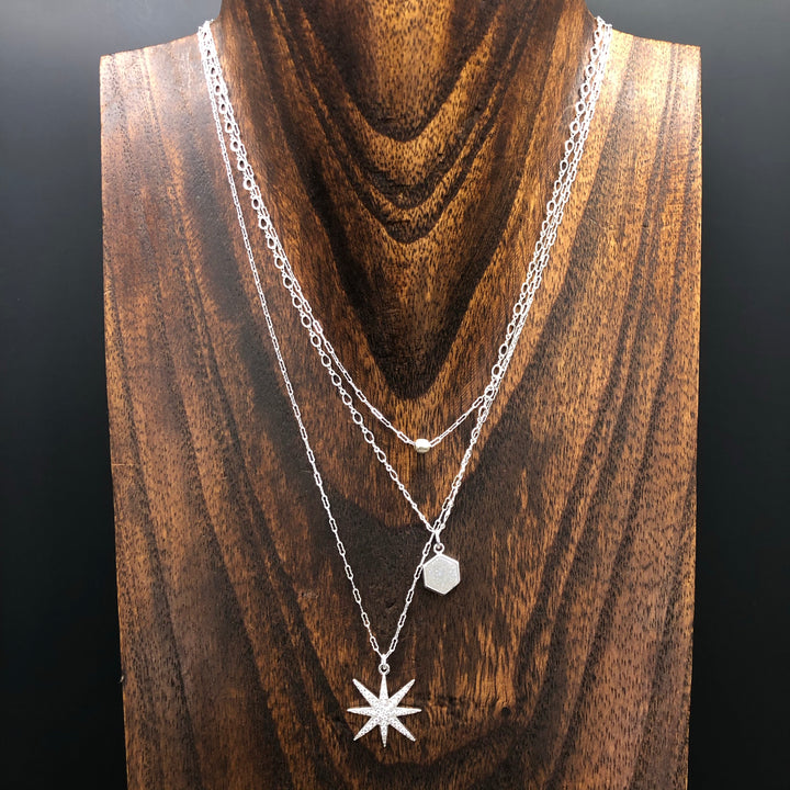 Three strand tiny nugget, druzy and pavé star necklace