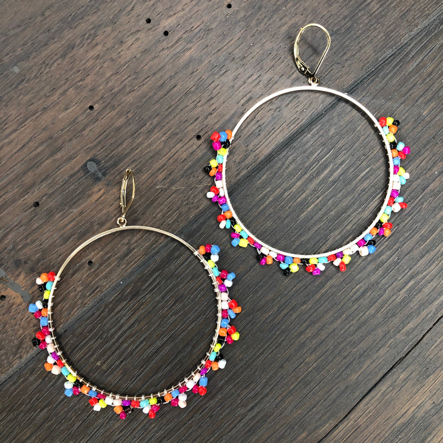 Seed bead large hoop earrings - gold