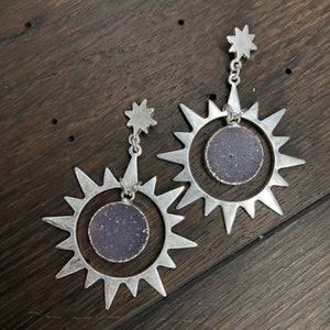 Ray of light druzy drop earrings - silver