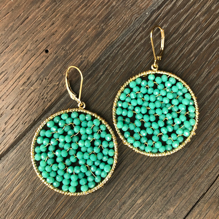 Turquoise seed bead disc - gold