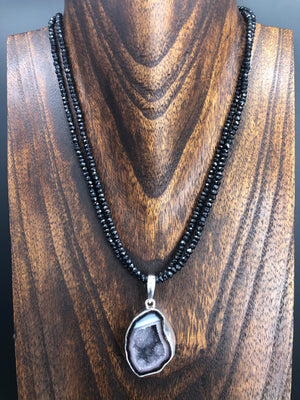 Coconut geode on double black spinel necklace