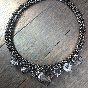 Gunmetal geometric crystal cage necklace