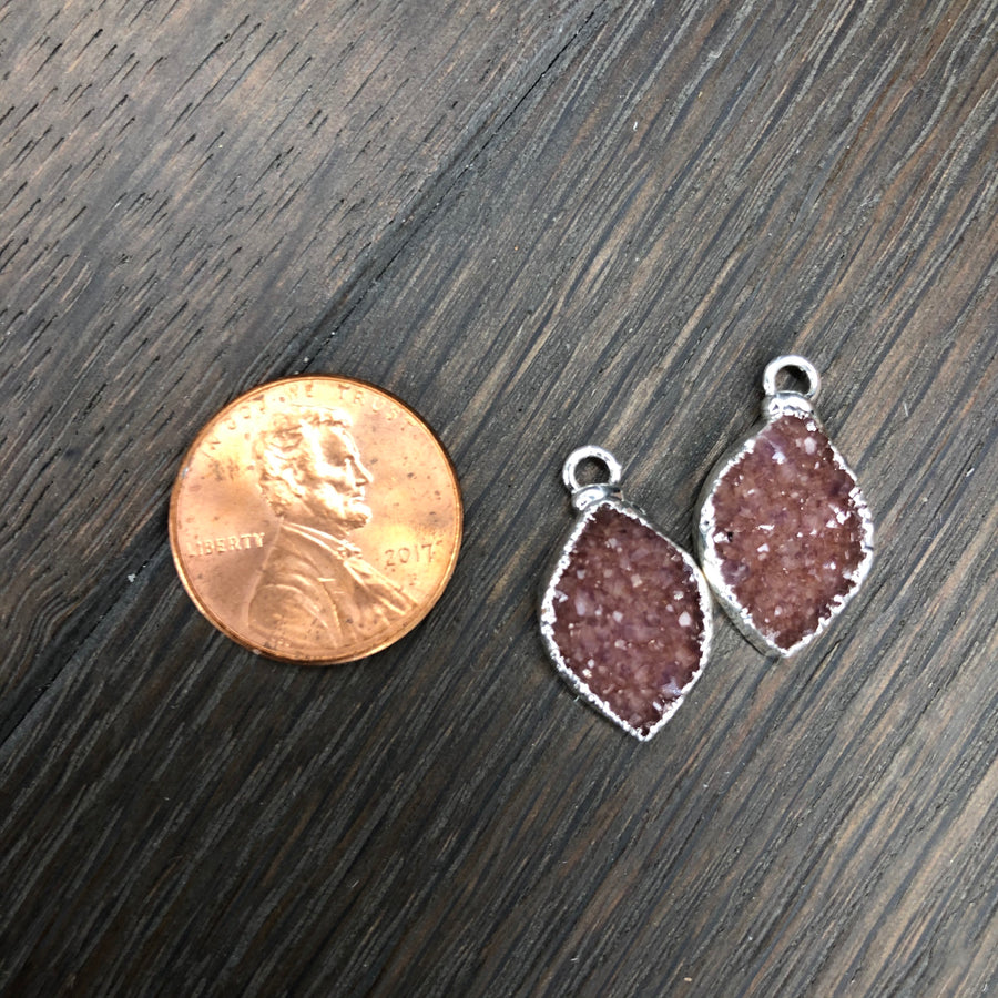 Mother/daughter/bff matching druzy necklace set - silver