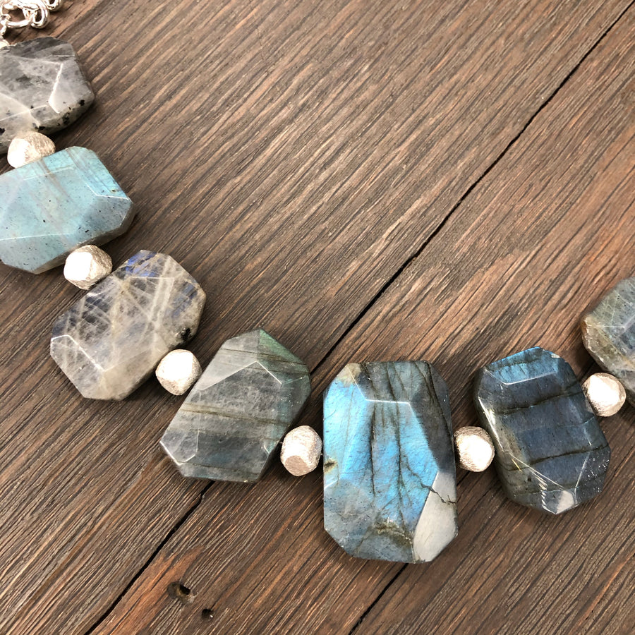Faceted labradorite necklace