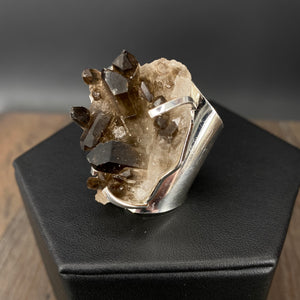 Smoky quartz cluster ring - silver