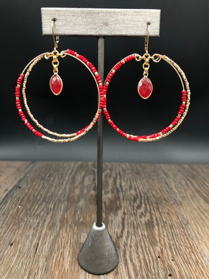 Seed bead double hoop earring with stone drop