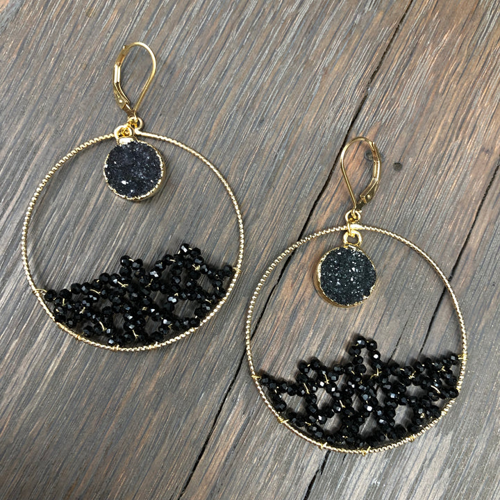 "Black ""Ocean Wave"" hoop earring"