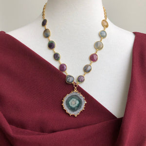 Amethyst stalactite slice and Corundum sapphire and ruby necklace