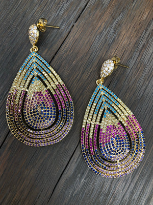 Pavé colored cz teardrop earring