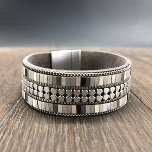 Pebble collection tiny metallic leather mosaic magnetic bracelet