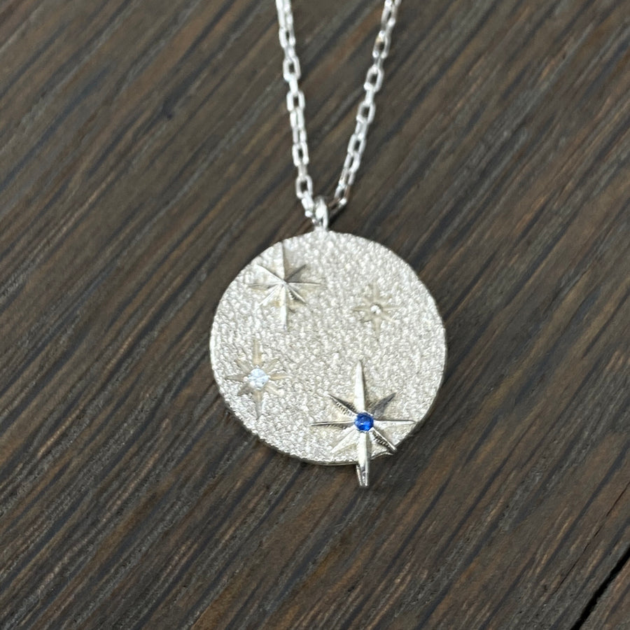 Night sky sterling silver coin necklace