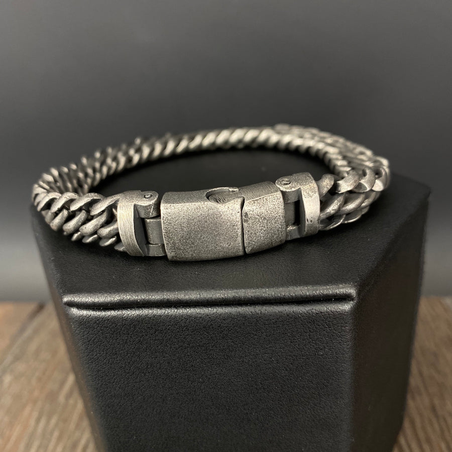 Men's woven chain bracelet - antique silver stainless steel