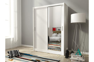 Milan 130/150 Sliding Wardrobe Set. - Sleep Villa