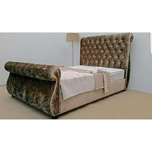 Load image into Gallery viewer, Swan Sleigh Chesterfield Bed - Sleep Villa