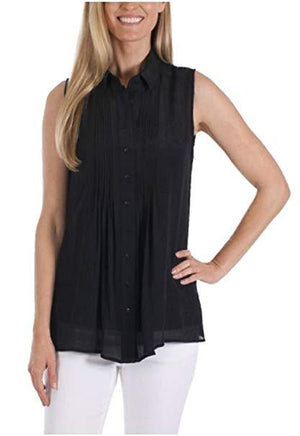 Womens Fever Sleeveless Top with Matching Detachable Camisole - Black