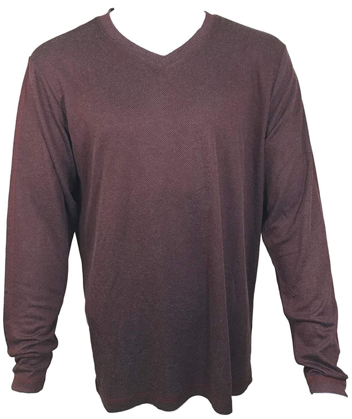 Dakota Grizzly Men's V-Neck Pullover Long Sleeve Shirt- Rum