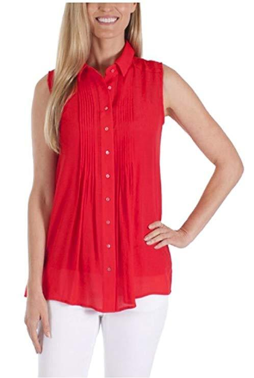 Womens Fever Sleeveless Top with Matching Detachable Camisole - Poppy Red