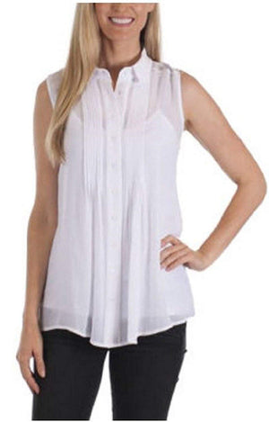 Womens Fever Sleeveless Top with Matching Detachable Camisole - White