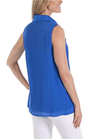Womens Fever Sleeveless Top with Matching Detachable Camisole - Cobalt Sea