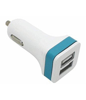Captcha Portable Travel Dual USB Car Charger Suitable with All Android or iPhone Devices -Blue color