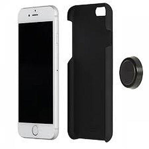 Knomo Magnet Mount Leather Back Case for iPhone 6 Plus - Black