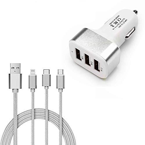 Captcha 3-in-1 Multi-Pin Charging Cable and Triple USB Universal Car Charger(White)
