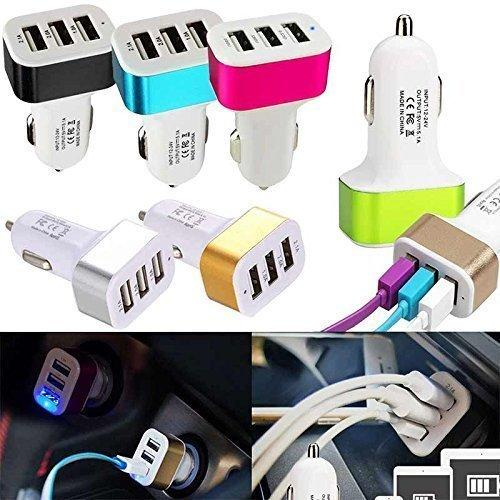 Captcha 3-in-1 Multi-Pin Charging Cable and Triple USB Universal Car Charger(Pink)