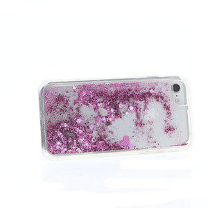 MILK & HONEY Clear Back Case for iPhone 6s/7  - Waterfall with Pink Glitters
