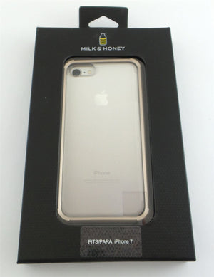 MILK & HONEY Clear Back Case for iPhone 7  - Transparent with Gold Bumper