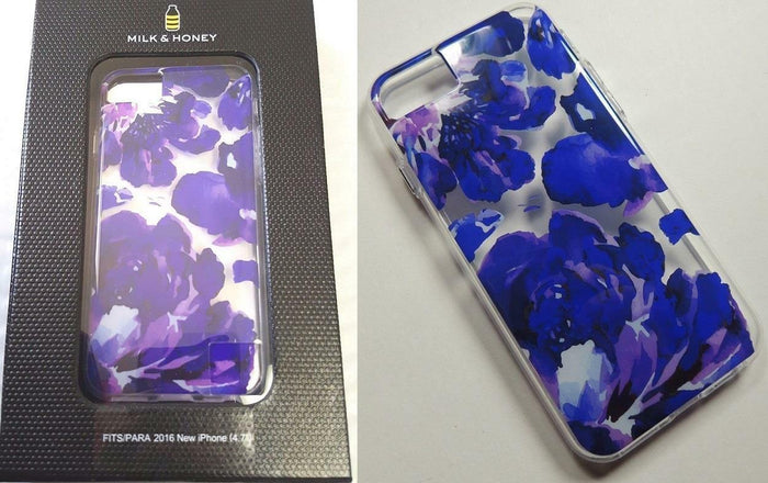 MILK & HONEY Clear Back Case for iPhone 6s/7 - Purple Flower