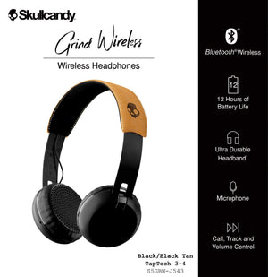 Skullcandy Grind On-Ear Bluetooth Headphones with Mic and Remote (Black)