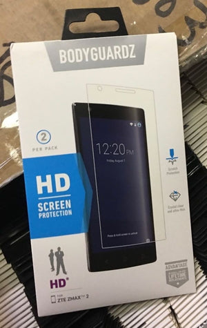 BodyGuardz HD Screen Protector Tempered Glass for ZTE ZMAX 2 - Transparent
