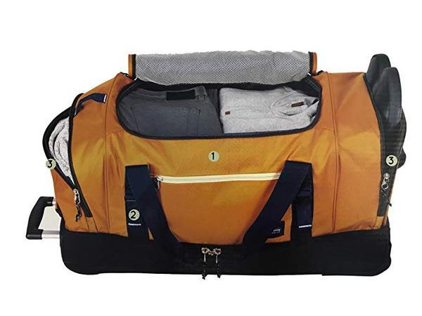 The Skyway Luggage Globe Trekker 2 Compartment Rolling Duffel Bag, Yellow/Brown