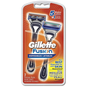 Gillette Fusion Disposable Razors with 5 Blades for Men - 2 Counts