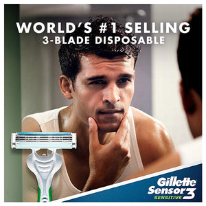 Gillette Sensor3 Disposable Razors with 3 blades for Men - 8 Counts