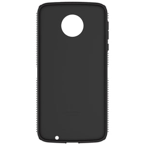 Speck CandyShell Grip Back Case for Moto Z Droid, White with Black lines