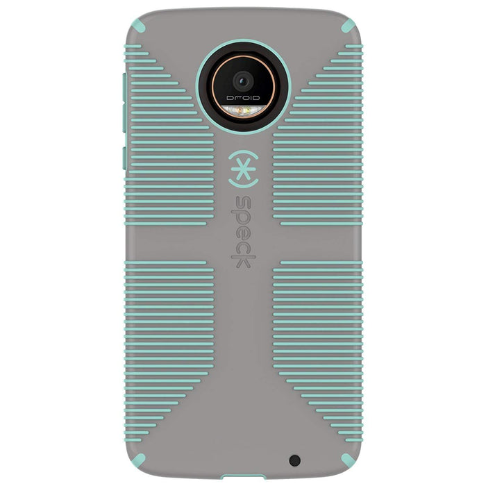 Speck CandyShell Grip Back Case for Moto Z Droid, Sandy Grey with Aloe Green lines