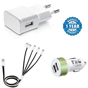 Captcha Portable Travel Dual USB Car Charger Suitable with All Android or iPhone Devices -Green color