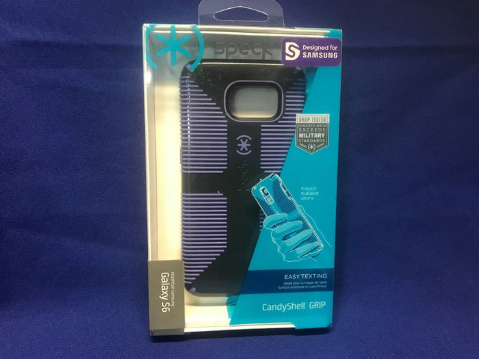 Speck CandyShell Grip Back Case for Samsung Galaxy S6, Black with purple lines