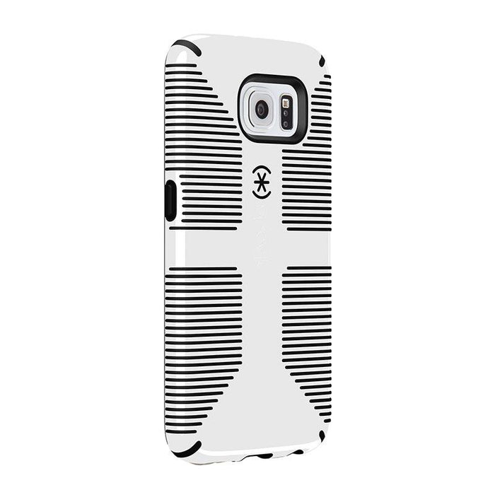 Speck CandyShell Grip Back Case for Samsung Galaxy S6, White with Black lines