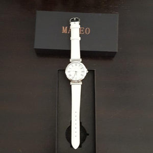 Stunning Women's Mateo Watch Brand New White Leather Band.