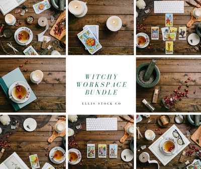 Witchy Workspace Flat Lay Photo Bundle- 20 photos
