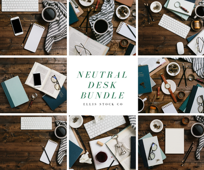 Neutral Desk Photo Bundle - 23 Photos