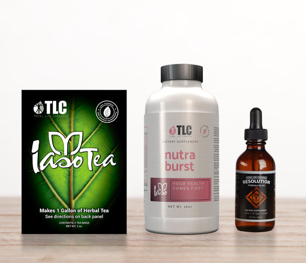 Iaso Tea Tradicional + Gotas Resolution + Nutraburst.