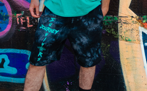 Cross Logo Tie-Dyed Fleece Shorts