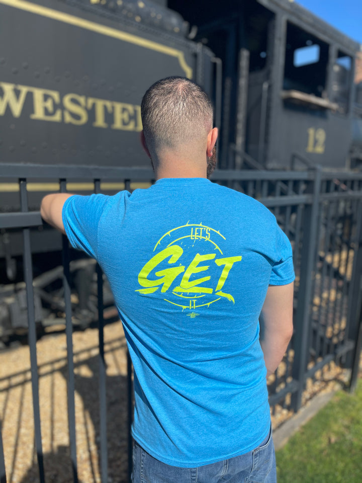 Let's Get It T-Shirt (Heather Sapphire/ Lime Green)