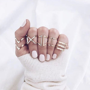 5 in 1 geometric ring set - xcluslay
