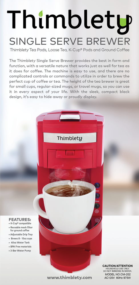 Coffee Machine- Thimblety Tea and Coffee Maker, Mini 4 in 1 Coffee Maker, Single Serve Coffee Maker for K-Cup Pods, Tea Bags, Loose Leaf Tea and Ground Coffee,  Coffee Brewer Machine with 40 Oz Reservoir, Auto Shut-off