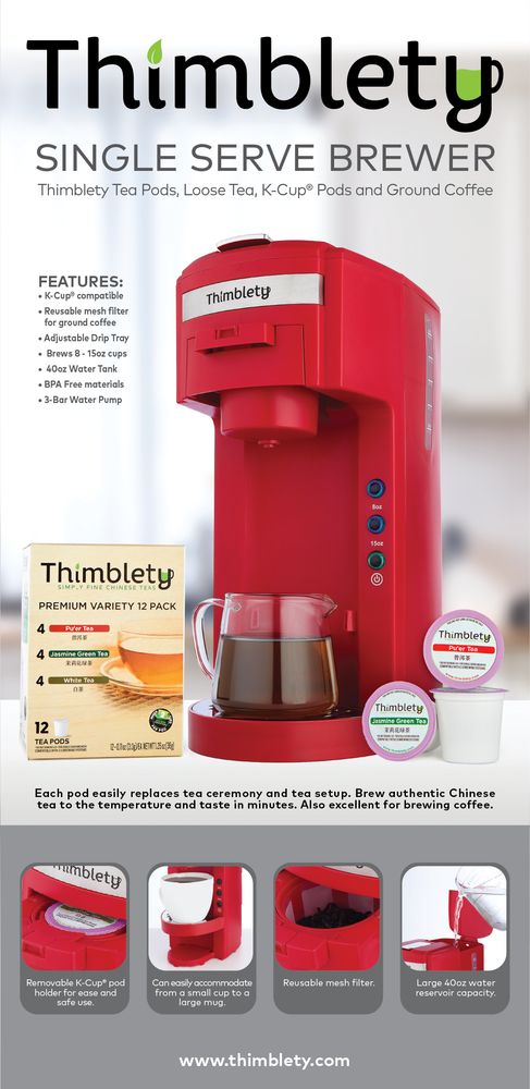 Thimblety Single Serve Tea and Coffee Brewer - K-Cup Coffee Maker - Single Serve Coffee Maker K Cup - Single Serve K Cup Coffee Maker and Tea Maker - Small Single Cup Coffee Maker- KCup Machine - Red